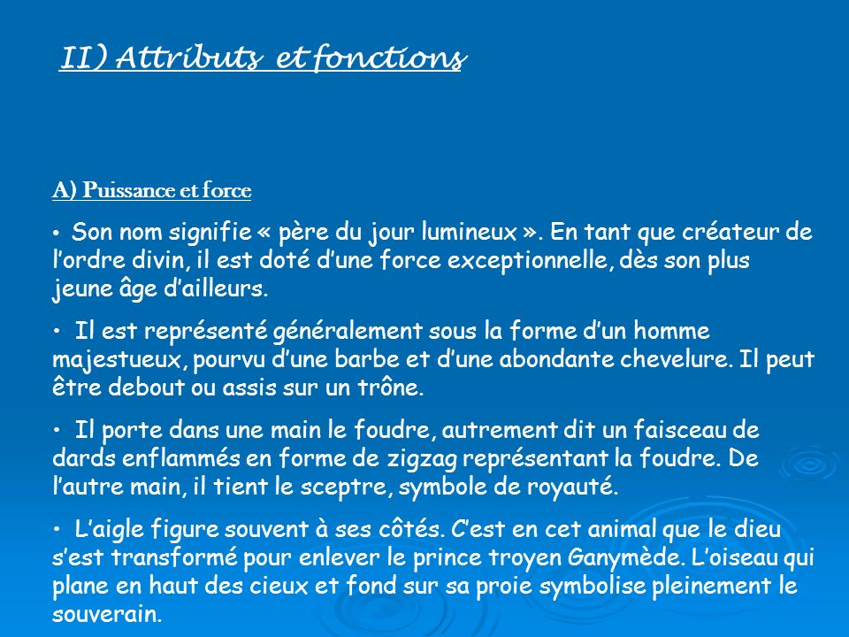 II) Attributs et fonctions