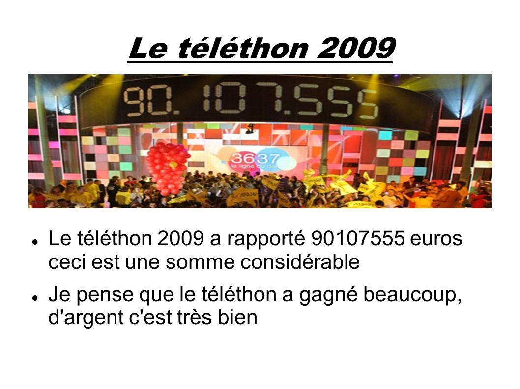 Le téléthon 2009 Le téléthon 2009 a rapporté 90107555 euros ceci est une somme considérable.