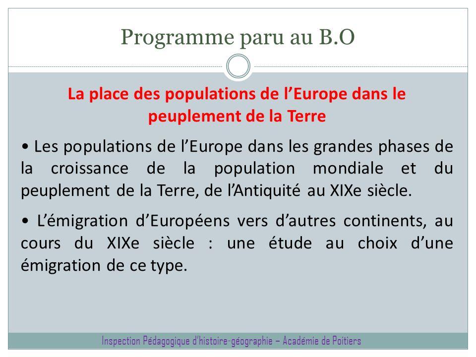 La place des populations de l'Europe dans le peuplement de la Terre