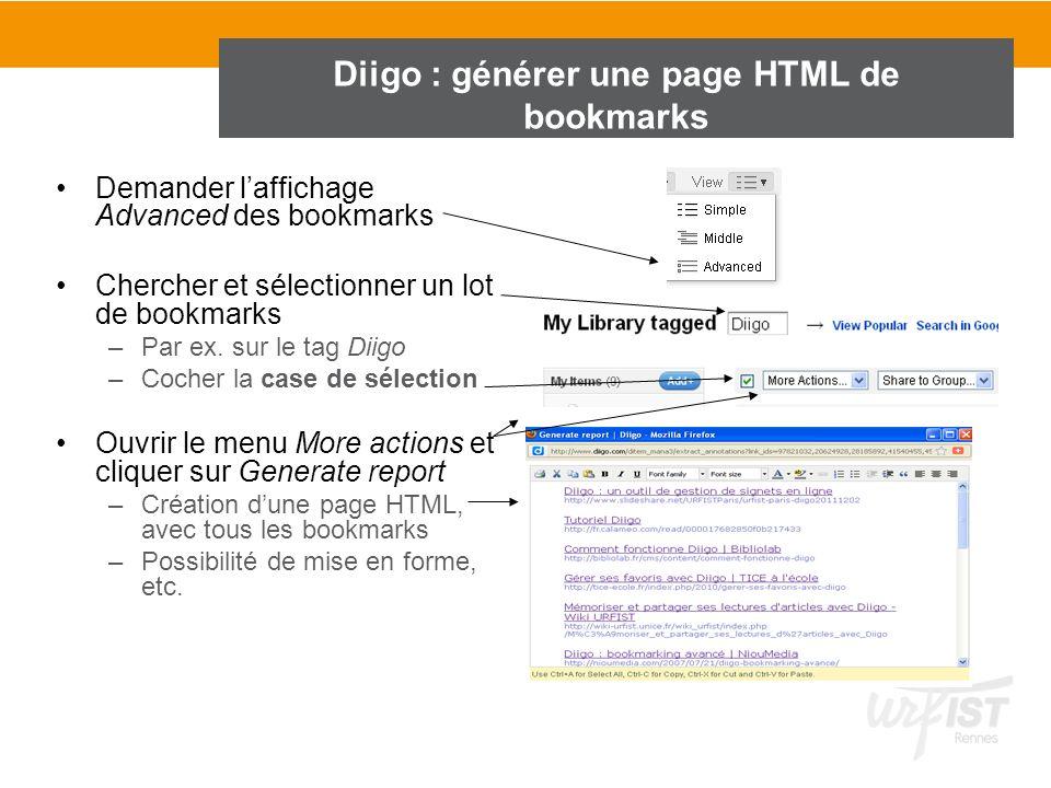 Diigo : générer une page HTML de bookmarks