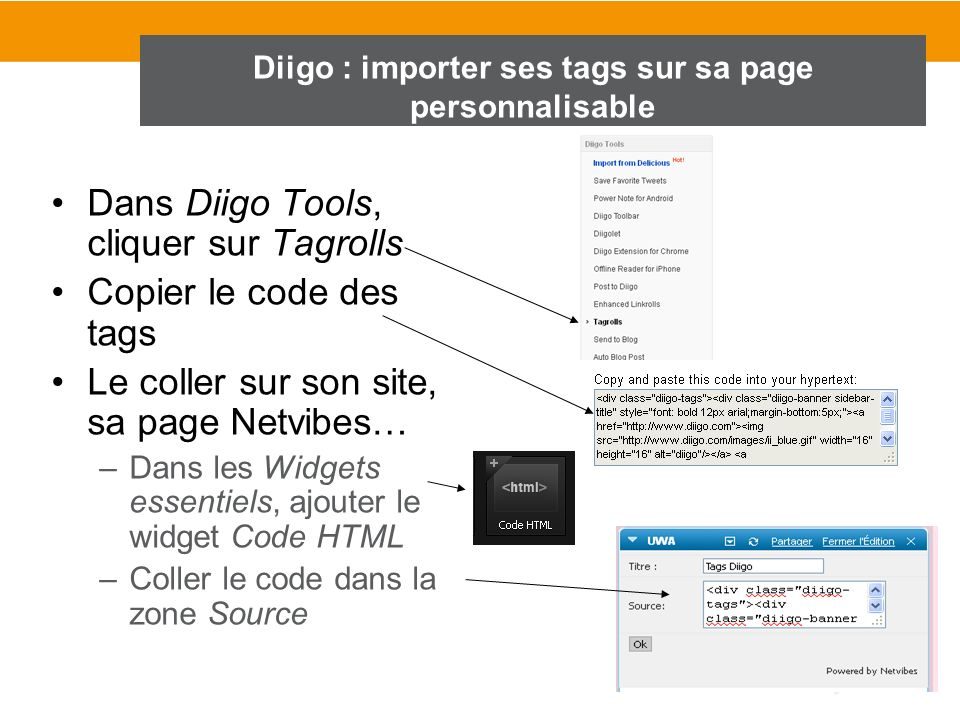 Diigo : importer ses tags sur sa page personnalisable