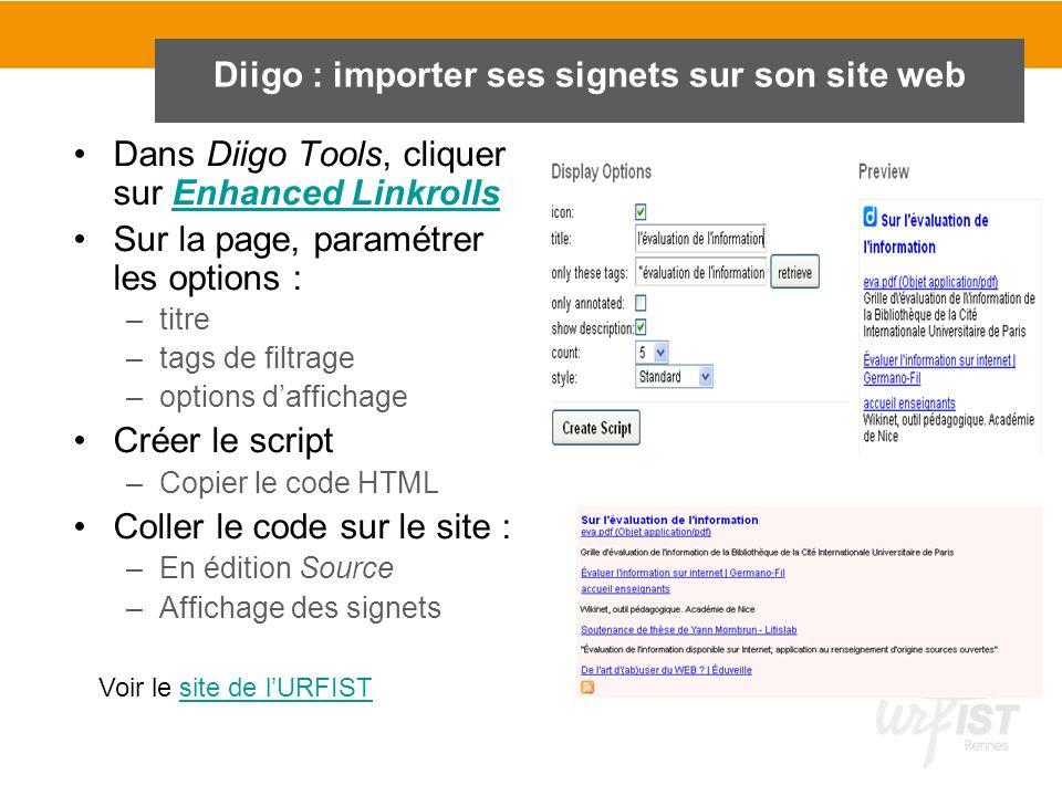Diigo : importer ses signets sur son site web
