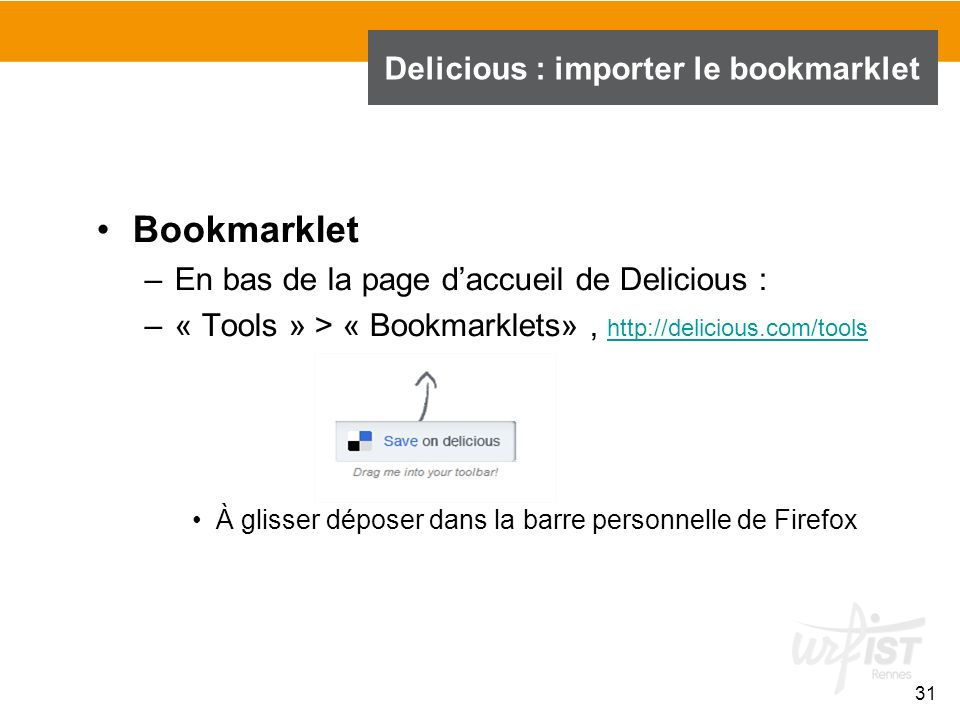 Delicious : importer le bookmarklet