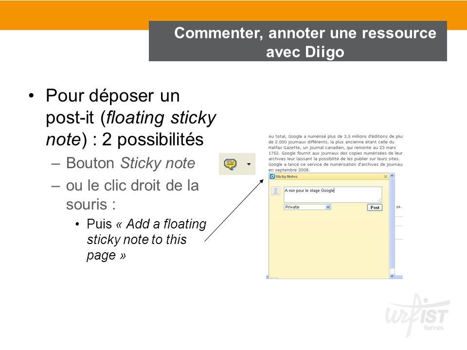Commenter, annoter une ressource avec Diigo