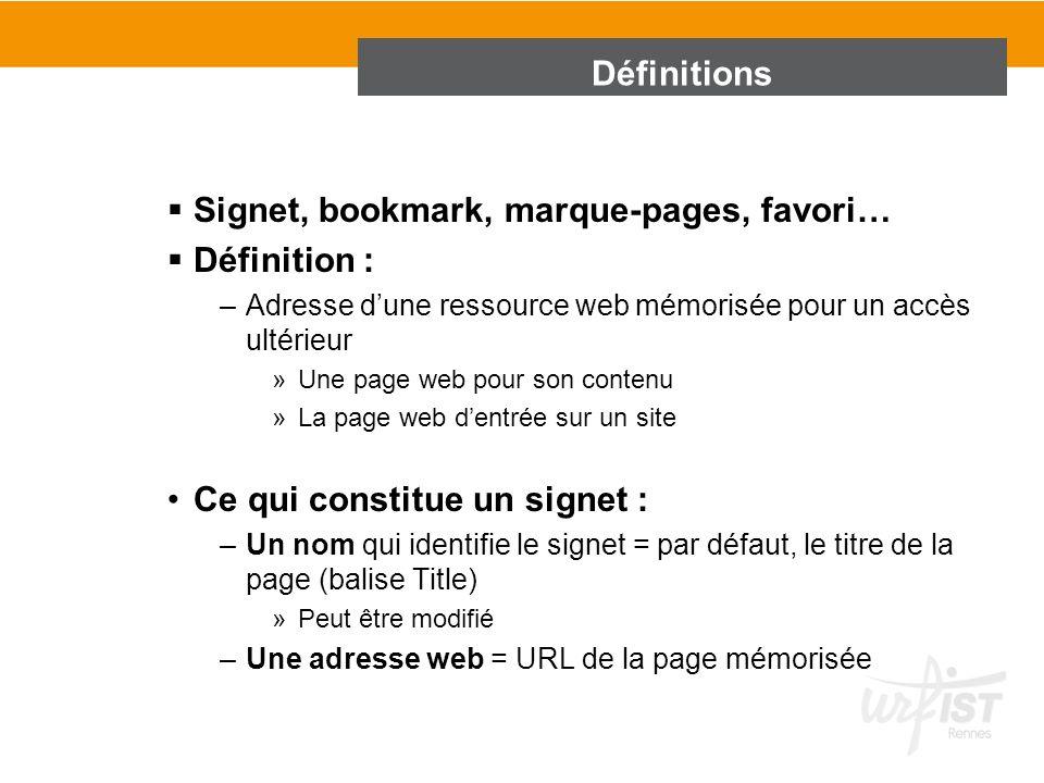 Signet, bookmark, marque-pages, favori… Définition :