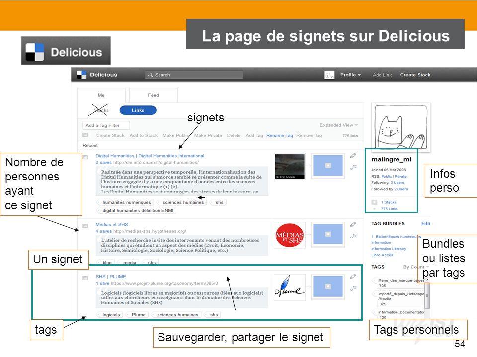 La page de signets sur Delicious