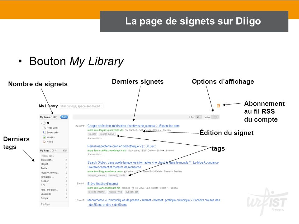 La page de signets sur Diigo