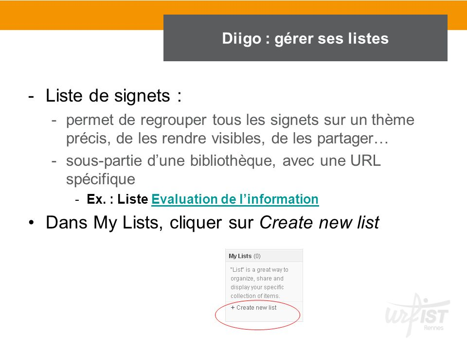 Diigo : gérer ses listes Gérer les listes sur Diigo