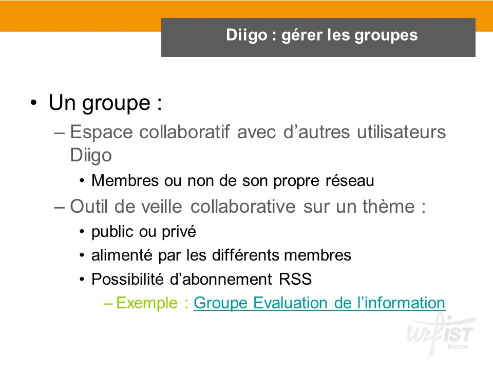 Diigo : gérer les groupes