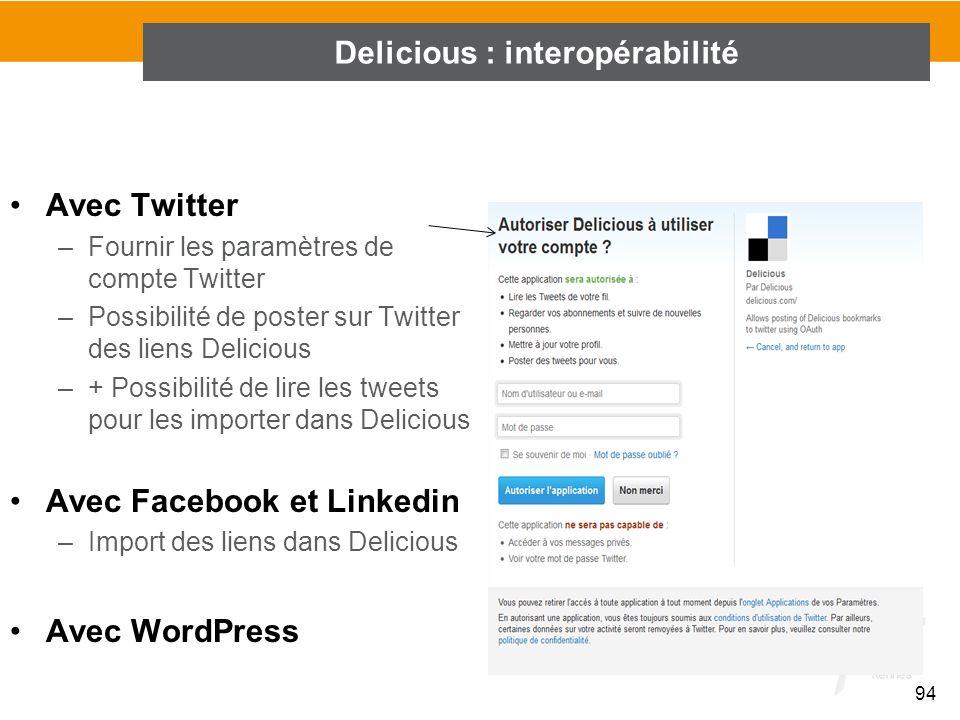 Delicious : interopérabilité
