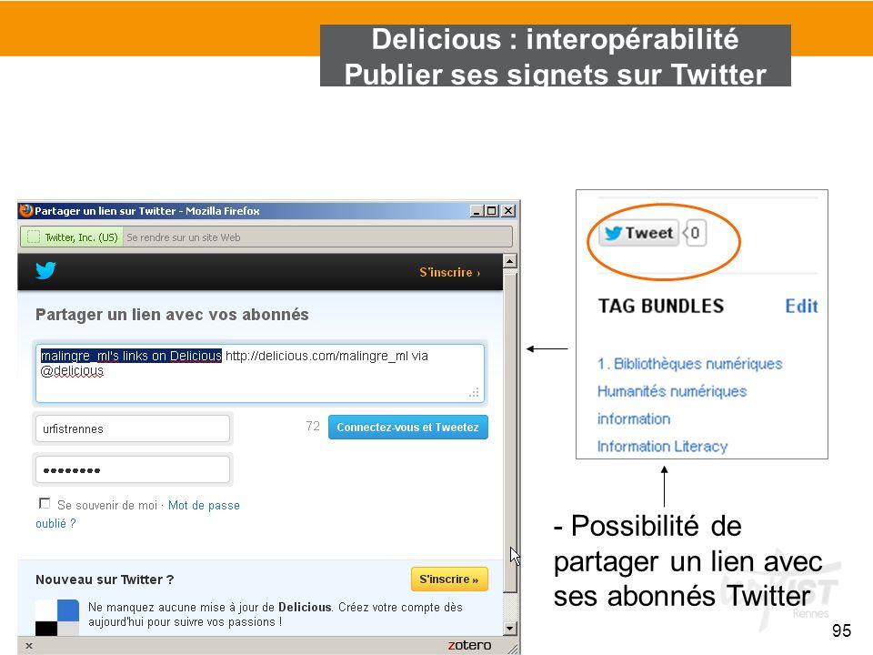 Delicious : interopérabilité Publier ses signets sur Twitter