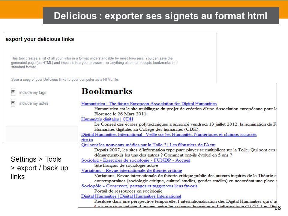 Delicious : exporter ses signets au format html