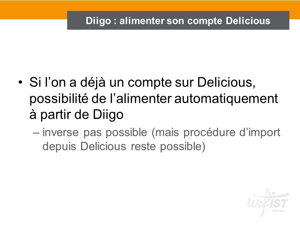 Diigo : alimenter son compte Delicious