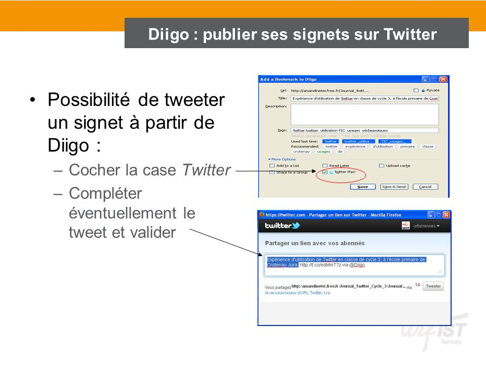 Diigo : publier ses signets sur Twitter