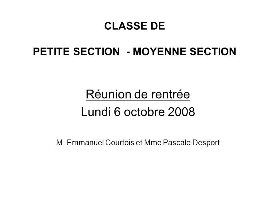CLASSE DE PETITE SECTION - MOYENNE SECTION