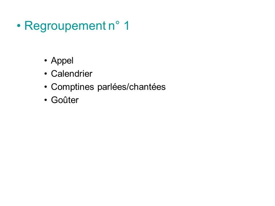 Regroupement n° 1 Appel Calendrier Comptines parlées/chantées Goûter