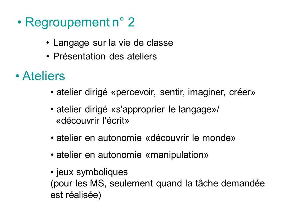 Regroupement n° 2 Ateliers Langage sur la vie de classe
