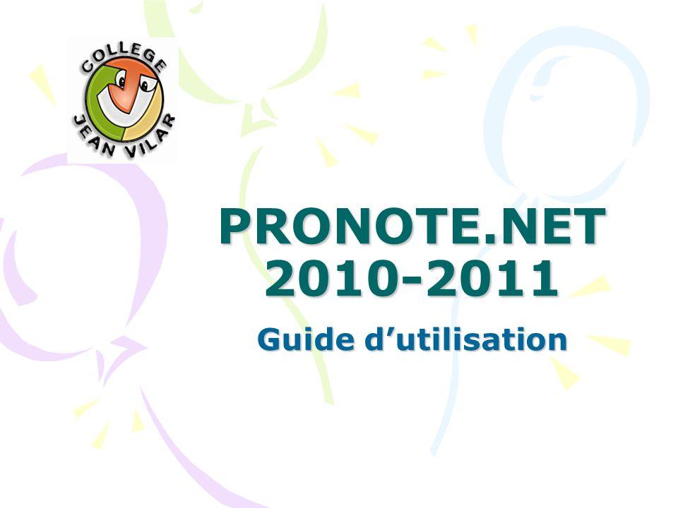 PRONOTE.NET 2010-2011 Guide d'utilisation