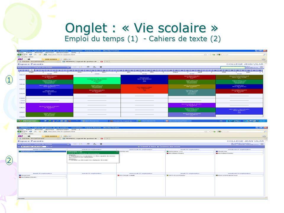 Onglet : « Vie scolaire » Emploi du temps (1) - Cahiers de texte (2)