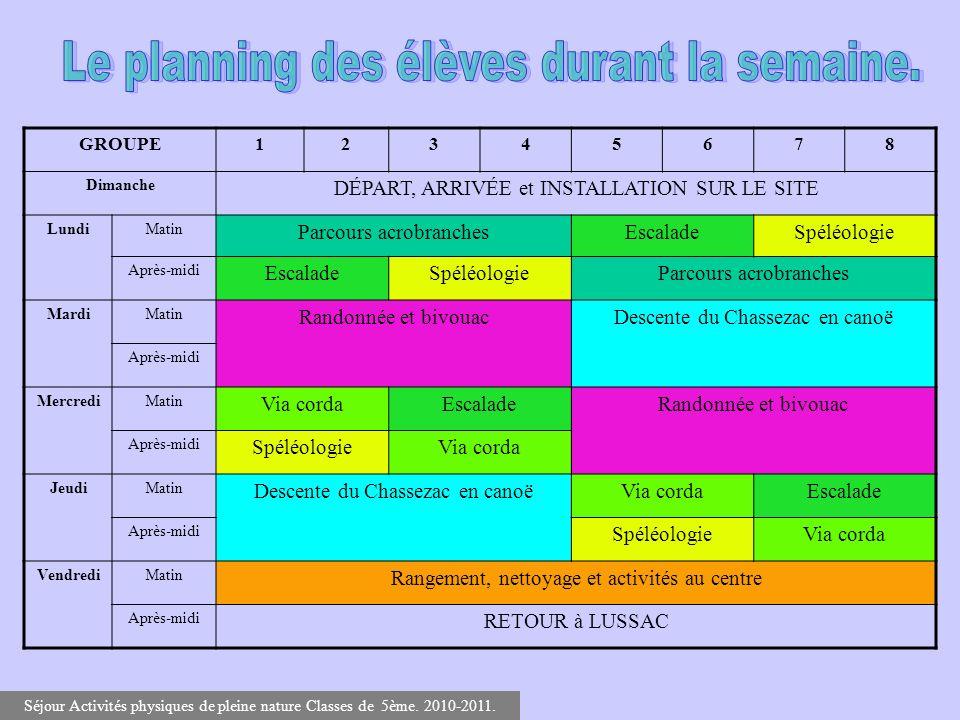 Le planning des élèves durant la semaine.