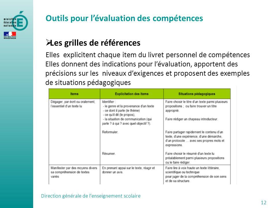 Outils pour l'évaluation des compétences Les grilles de références