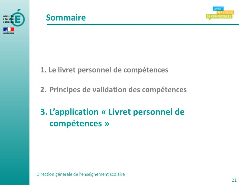 L'application « Livret personnel de compétences »
