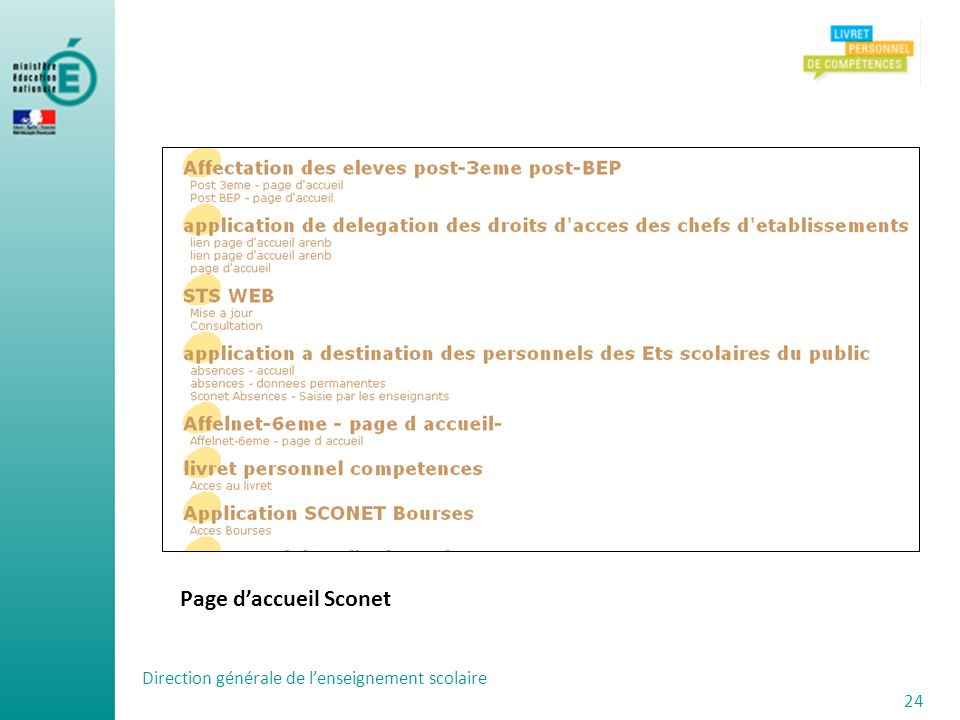 Page d'accueil Sconet Direction générale de l'enseignement scolaire 24