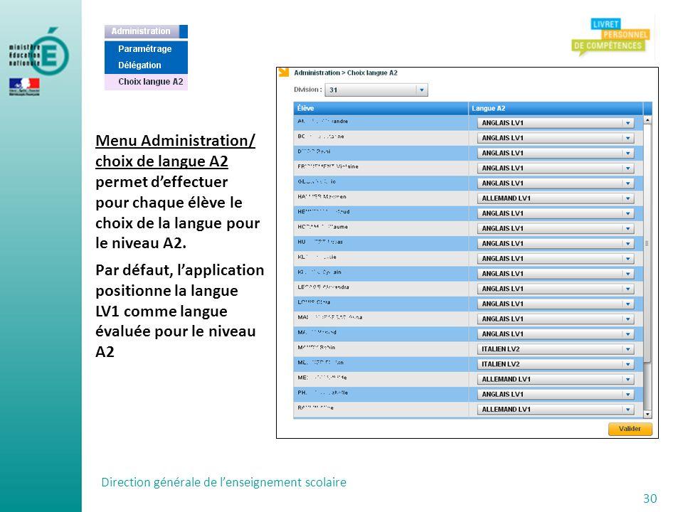 Menu Administration/ choix de langue A2 permet d'effectuer pour chaque élève le choix de la langue pour le niveau A2.