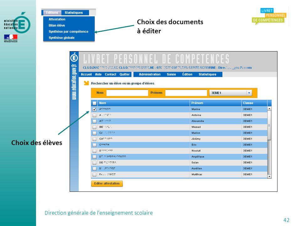 Choix des documents à éditer Choix des élèves
