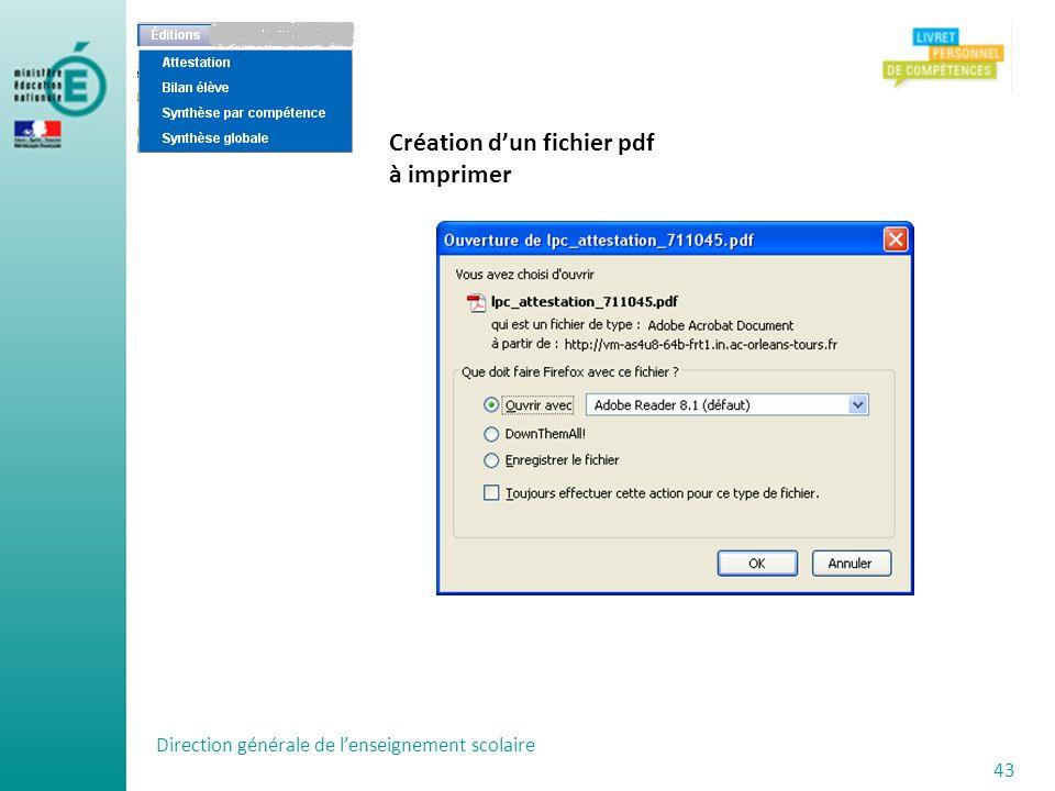 Création d'un fichier pdf à imprimer
