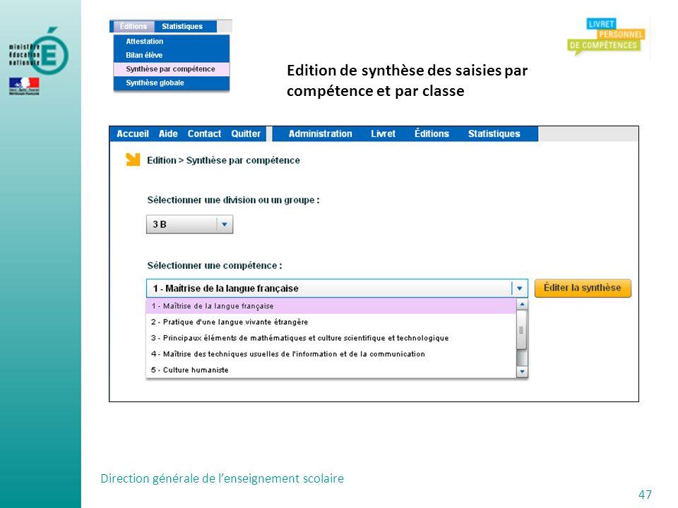 Edition de synthèse des saisies par compétence et par classe