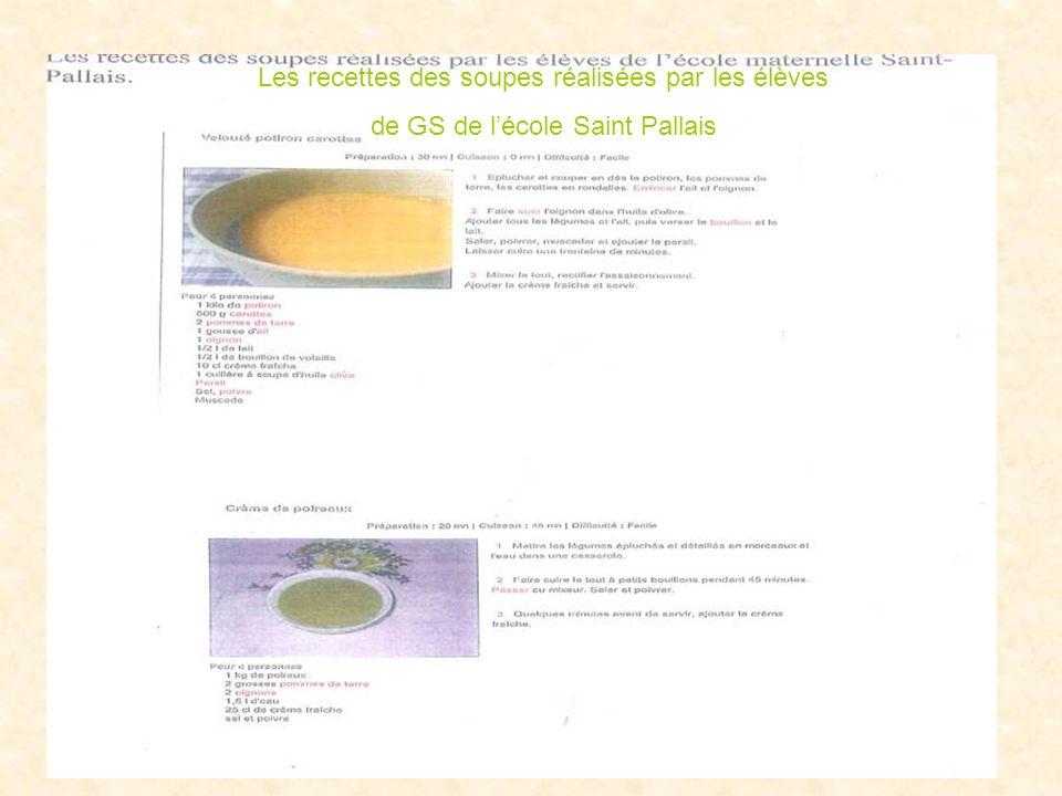 Les recettes des soupes réalisées par les élèves