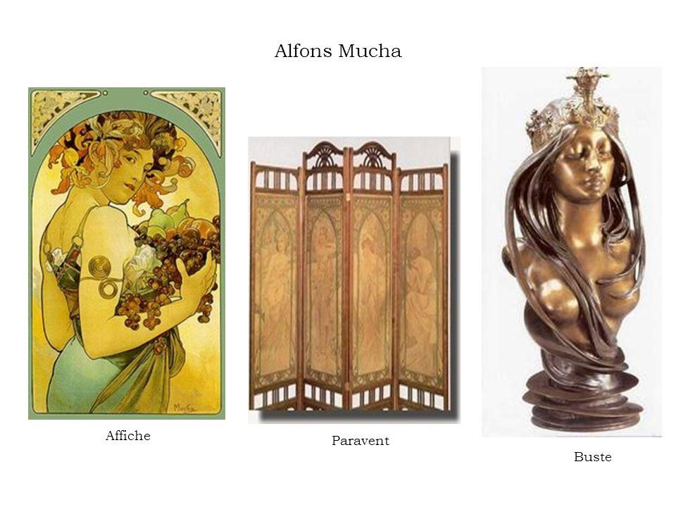 Alfons Mucha Affiche Paravent Buste