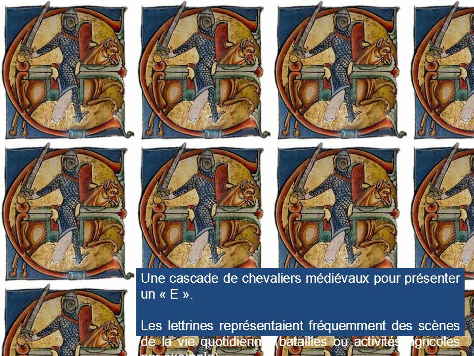Une cascade de chevaliers médiévaux pour présenter un « E ».