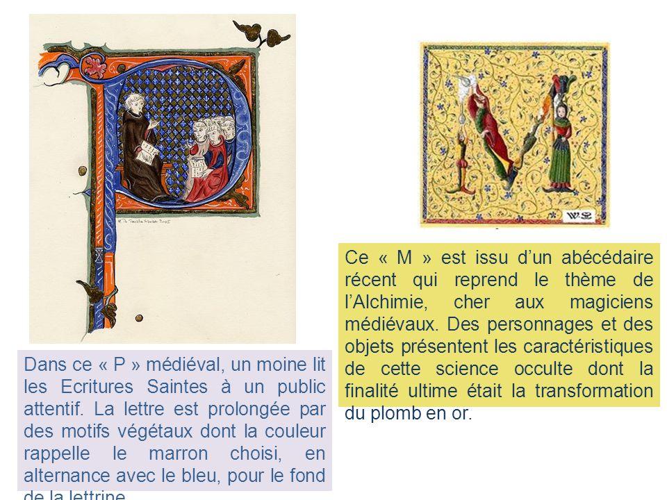 Ce « M » est issu d'un abécédaire récent qui reprend le thème de l'Alchimie, cher aux magiciens médiévaux. Des personnages et des objets présentent les caractéristiques de cette science occulte dont la finalité ultime était la transformation du plomb en or.