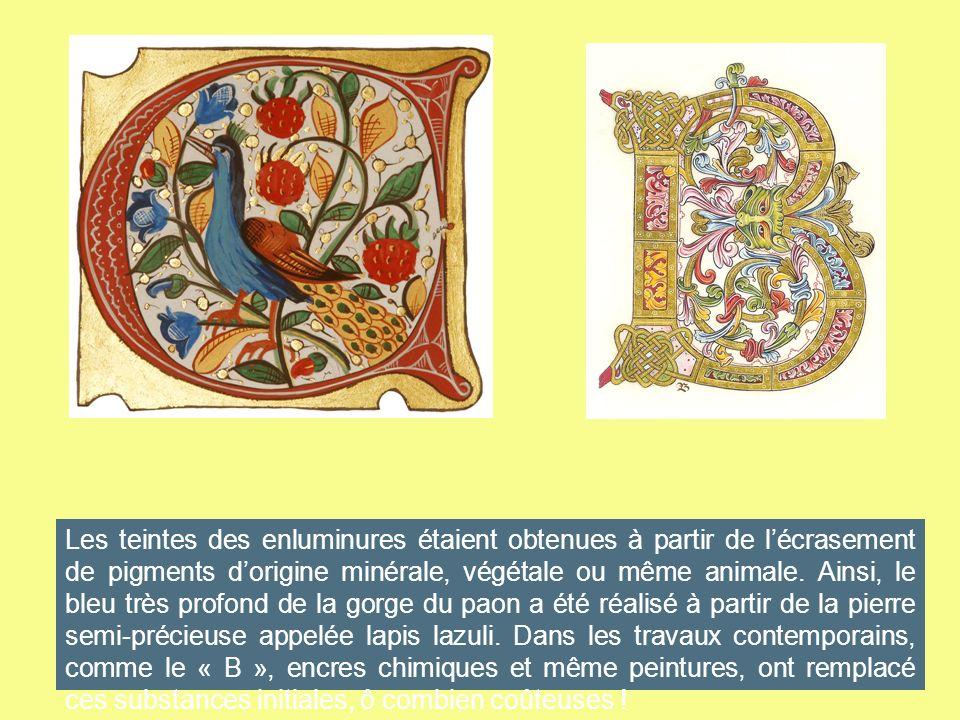 Les teintes des enluminures étaient obtenues à partir de l'écrasement de pigments d'origine minérale, végétale ou même animale.