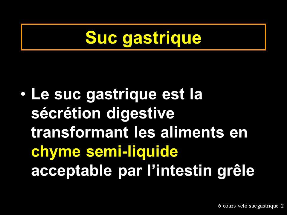 Suc gastrique Le suc gastrique est la sécrétion digestive transformant les aliments en chyme semi-liquide acceptable par l'intestin grêle.