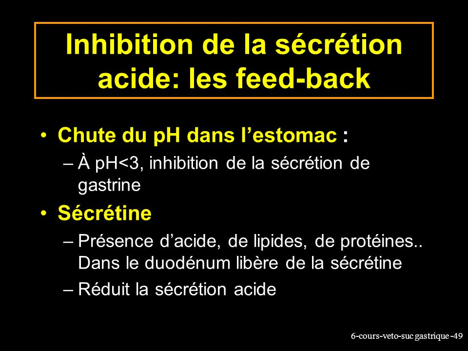 Inhibition de la sécrétion acide: les feed-back