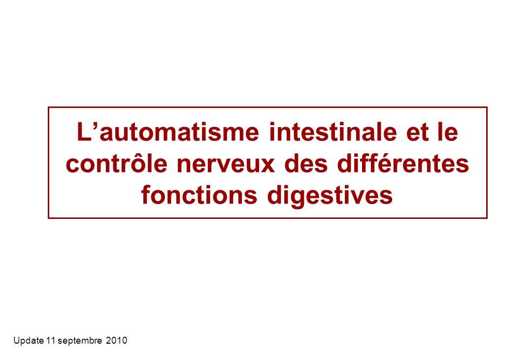L'automatisme intestinale et le contrôle nerveux des différentes fonctions digestives