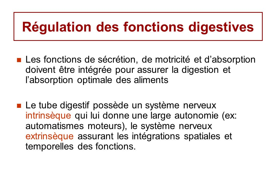 Régulation des fonctions digestives