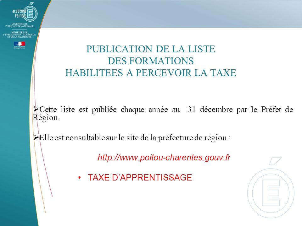 PUBLICATION DE LA LISTE DES FORMATIONS HABILITEES A PERCEVOIR LA TAXE