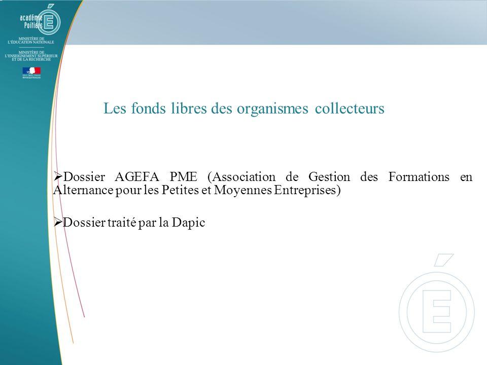 Les fonds libres des organismes collecteurs