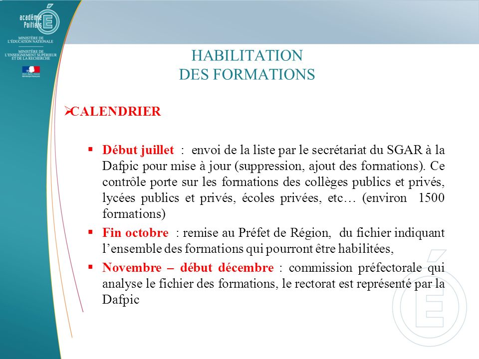 HABILITATION DES FORMATIONS