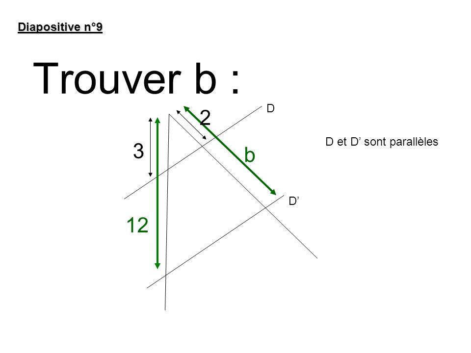 Diapositive n°9 Trouver b : D 2 D et D' sont parallèles 3 b D' 12