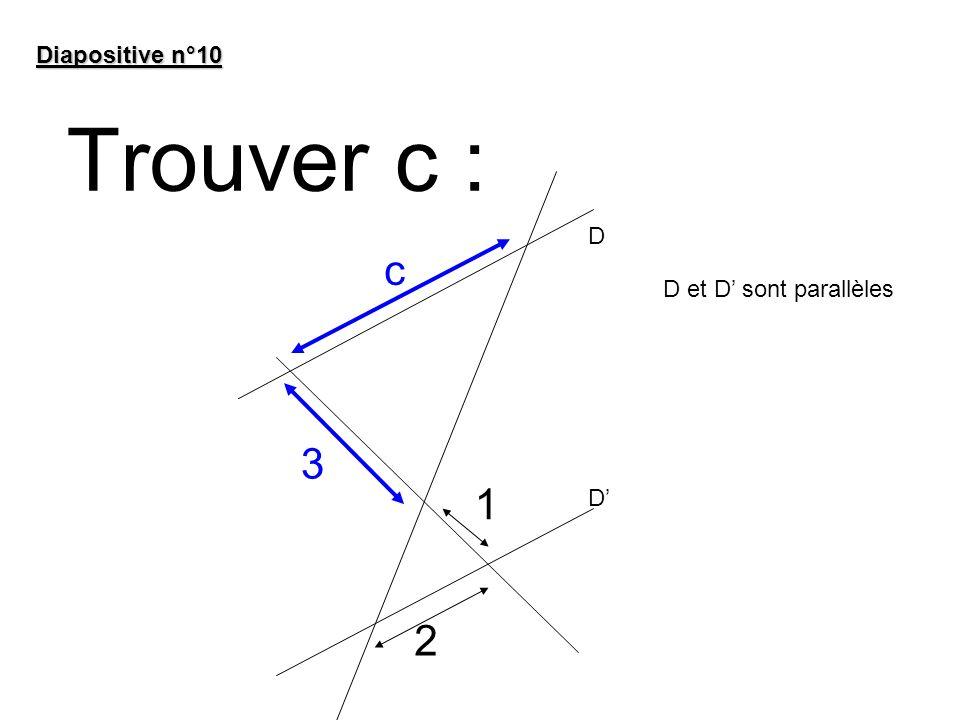 Diapositive n°10 Trouver c : D c D et D' sont parallèles 3 1 D' 2