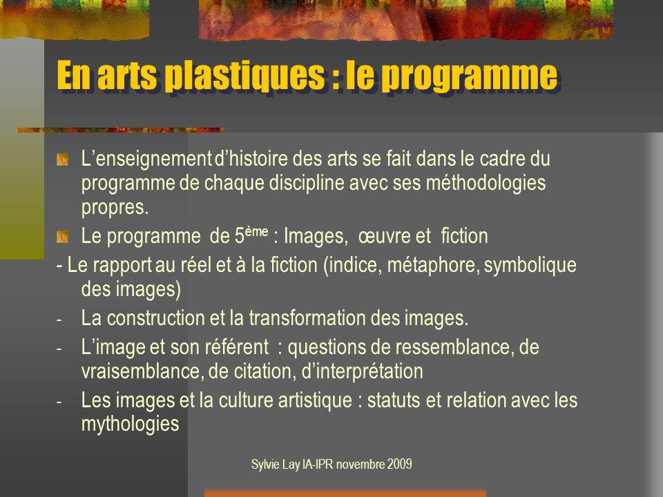 En arts plastiques : le programme