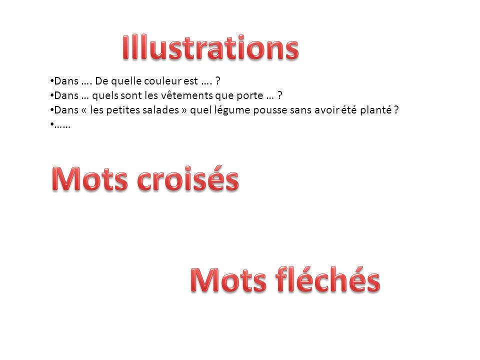 Illustrations Mots croisés Mots fléchés