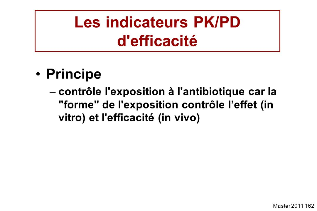 Les indicateurs PK/PD d efficacité