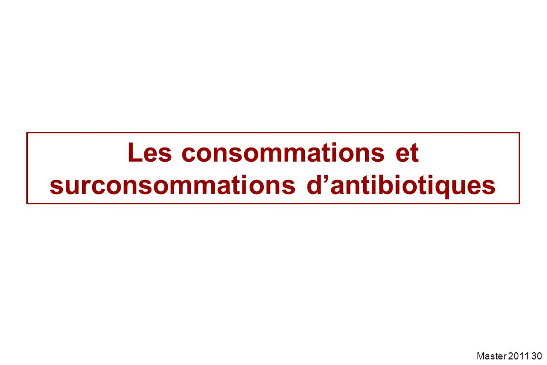 Les consommations et surconsommations d'antibiotiques