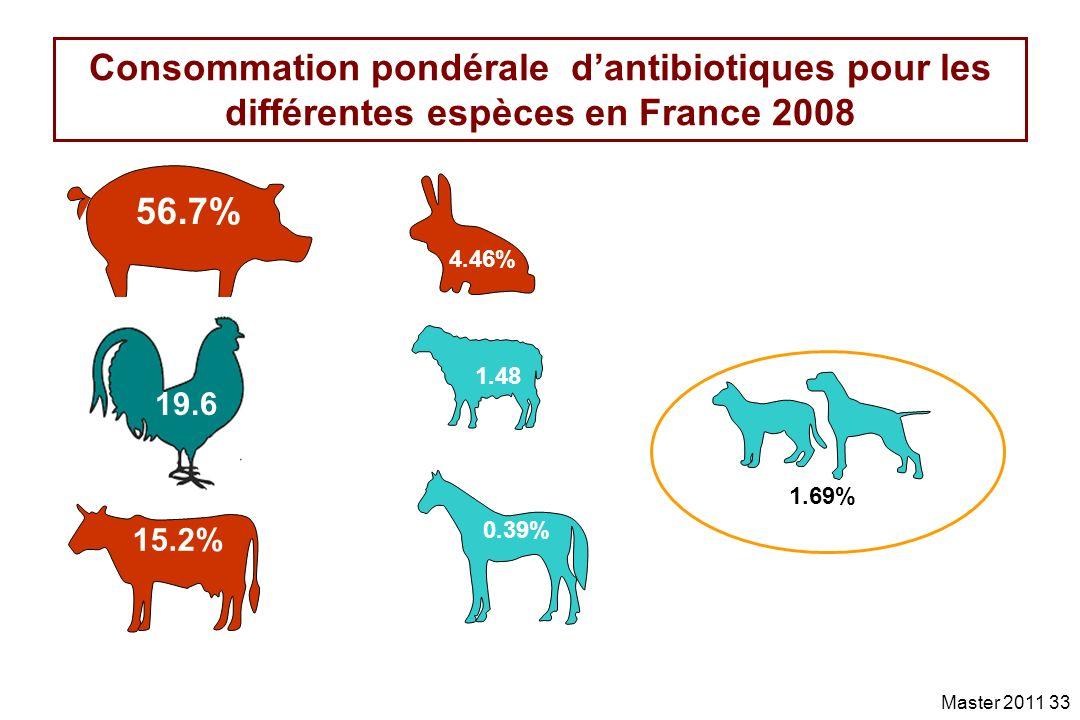 Consommation pondérale d'antibiotiques pour les différentes espèces en France 2008